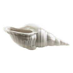Clearwater Ceramic Seashell Decor, Ivory Light Gray