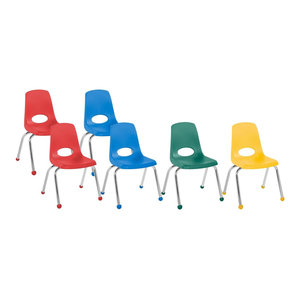 "Factory Direct Partners 14"" School Stack Chair Ball Glide, 6-Piece, Assorted"