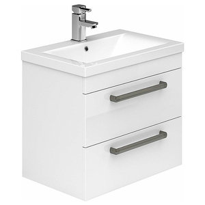 Modern Wall Mounted Vanity Sink Unit, White Ceramic With 2-Drawer, 600 Mm