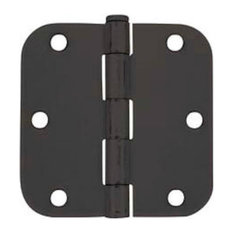 "Door Hinge, 3-1/2"" With 5/8"" Radius Corners, Matte Black"