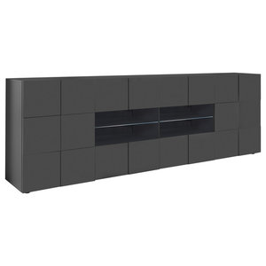 Diana Sideboard, LED Lights, 241 cm, Grey Gloss