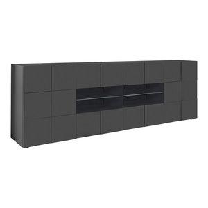 Diana Sideboard, LED Lights, 241 cm, Grey Gloss