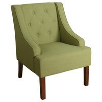 Button Tufted Swoop Arm  Wooden Accent Chair With Block Legs, Green And Brown