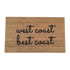 "Hand Painted ""West Coast Best Coast"" Doormat, Black Soul"
