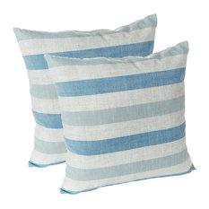 "Liza Stripe 18""x18"" Decorative Throw Pillows, Set of 2, Blue"