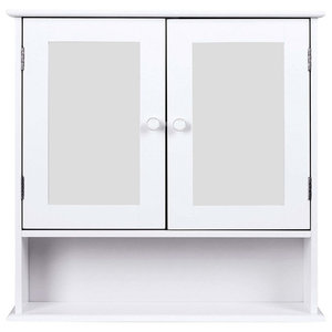 Wall Mounted Storage Cabinet, MDF With Double Mirrored Doors and Bottom Shelf