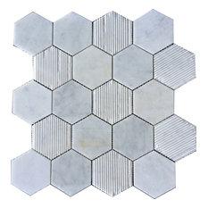 """12""""x12"""" Hex Honeycomb, Bianco Carrara"""
