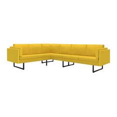 VidaXL Corner Sofa L-shaped Yellow Fabric Steel Home Chaise Longue Loveseat