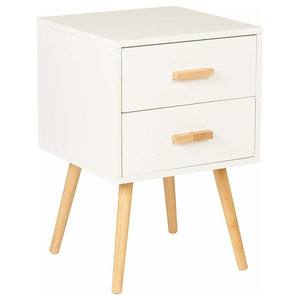 Traditional Bedside Table, White Finished MDF and Pine Legs, 2-Storage Drawers