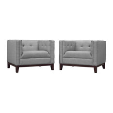 Modway Serve Fabric Accent Arm Chair in Light Gray (Set of 2)