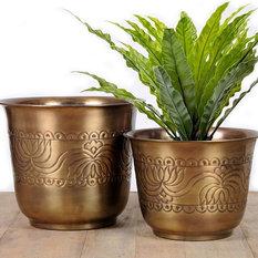 - Brass Antique Lotus Design Planter - Plant Pots & Planters