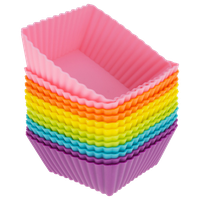 Freshware 12-Pack Silicone Square Baking Cup, Multicolored