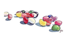 Jellybeans Art Watercolor Painting Art Print by Jo Jo la Rue