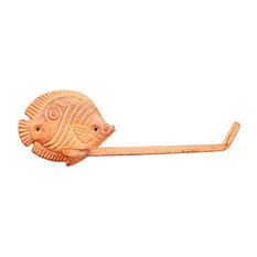 """Rustic Orange Cast Iron Butterfly Fish Toilet Paper Holder 11"""""""