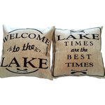 "Evelyn Hope Collection - ""Lake Times"" Lake House Gift Tan Indoor Outdoor Reversible Pillow - All of our pillows have a different design on each side and zippered covers, so you can change them for every reason and season and display either side. Order is for one pillow with a different design on each side with a zippered cover. Machine washable, durable fabric."