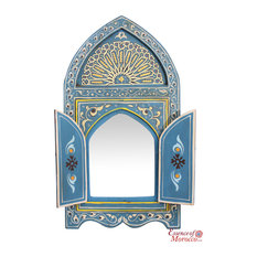 Moroccan Mirror Wood Bab Door Blue Handmade Limited Edition