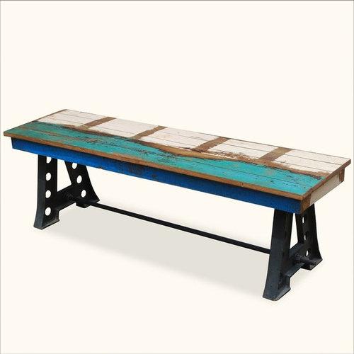 Rustic Solid Teak Wood & Industrial Wrought Iron Bench Outdoor Patio  Furniture - Indoor Benches