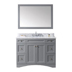 "Virtu Elise 48"" Single Bathroom Vanity, Gray With Marble Top, With Mirror"