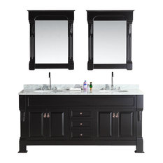 "Marcos 72"" Double Sink Vanity Set, Carrara White Marble Countertop, Espresso"
