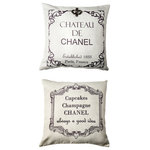 Evelyn Hope Collection - Chateau Chanel French Message Ivory Pillow With Removable Silver FleurdiLis Pin - Front: Chateau de Chanel established 1833, Paris, France