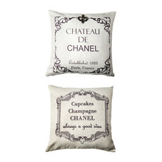 Chateau Chanel French Message Ivory Pillow With Removable Silver FleurdiLis Pin
