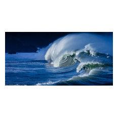 "Hawaii Shorebreak, Canvas Giclee, 48""x24"""