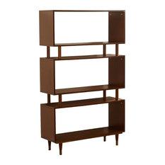 Mod Lola Wooden Bookshelf Walnut Gold Finish Bracket Bookcases