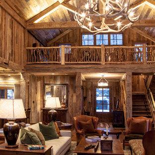 Large mountain style home design photo in Boston