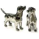 Sagebrook Home - Set of 2 Dog Figurines, Ceramic, Silver - Sagebrook Home has been formed from a love of design, a commitment to service and a dedication to quality. We create and import fashion forward items in the most popular design styles.