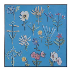 Painting Of Flowers On Blue Background  - Black Frame Made Of Canvas/Mahogany