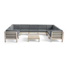 Ava Outdoor 9 Seater Acacia Sectional Sofa Set, Weathered Gray and Dark Gray