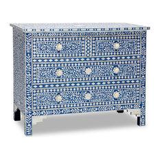 - Sapphire & Bone Inlay Chest of Drawers - Dressers