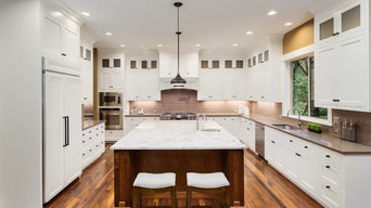 White Kitchen and Living Room Remodeling