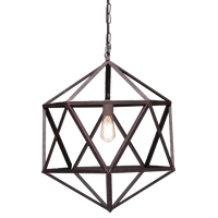 Industrial Amethyst Ceiling Lamp With Aged Patina Finish