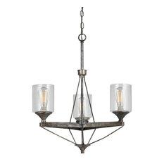 3 Lights Cresco Metal Chandelier, Textured Steel Finish, Clear Shade