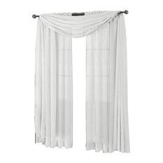 "Abri Single Rod Pocket Sheer Curtain Panel, White, 50""x96"""