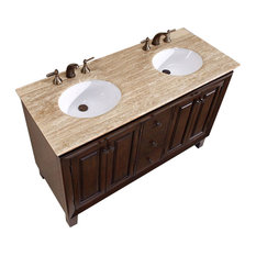 "55"" Transitional Double Sink Bathroom Vanity, Travertine Top, Distressed Finish"