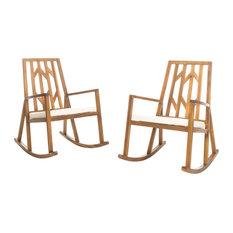 GDF Studio Monterey Outdoor Wood Rocking Chair, White Cushion, Set of 2