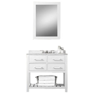 "36"" Belvedere Modern Freestanding White Bathroom Vanity With Marble Top"