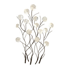 Benzara, Woodland Imprts, The Urban Port - Wall Art Delicately Crafted Metal White Capiz Shell Leaves Decor - Wall Sculptures