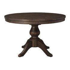 Trudell Round Extension Pedestal Table, Dark Brown