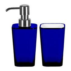 Bathroom Accessories Set, 2 Pieces, Liquid Soap Dispenser And Tumbler, Blue