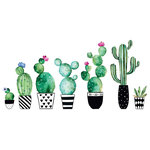 Home Decor Line - Watercolor Cactus Wall Decals Set of 8 - A house plant that's impossible to kill! With a dreamy watercolor effect and funky black and white pots, these cacti wall decals have a wonderful boho chic style. Watercolor Cactus Wall Decals Set of 8 comes on 2 sheets that each measure 12.2 x 12.2 inches. Potted cacti with a watercolor style wall decals; Peel and stick; Safe for walls: leaves no sticky residue; Sticks to most smooth, flat surfaces; Contains 8 pieces; Comes on four 12.2-in x 12.2-in sheets.