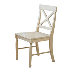 Leyden Antique White Wood Dining Chairs, Set of 2