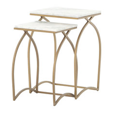 Amelia Modern Gold Curve Legs White Marble Top Nesting Tables - Set of 2