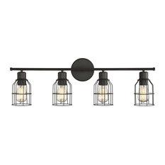 Trade Winds Lighting - 4-Light Industrial Bath Bar, Oil Rubbed Bronze - Bathroom Vanity Lighting