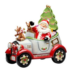 Driving Santa Cookie Jar With Plates and Spoon