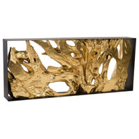 Cast Root Console Table, Iron Frame, Resin, Gold Leaf