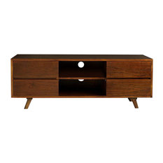 Milo White Cedar TV Stand, Walnut Finish