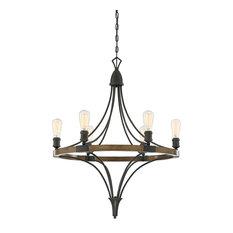 6-Light Traditional Chandelier, Dark Wood